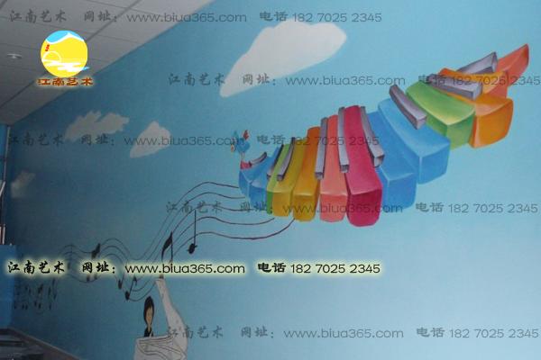装饰音乐室墙面彩绘,墙面彩绘以音乐符号钢琴键盘图案为主体现
