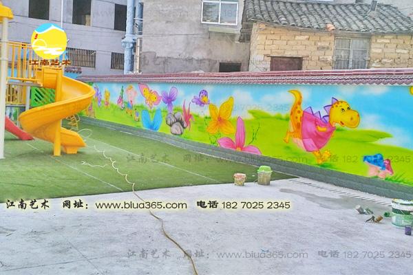 黄冈草盘地幼儿园围墙彩绘墙壁画图片